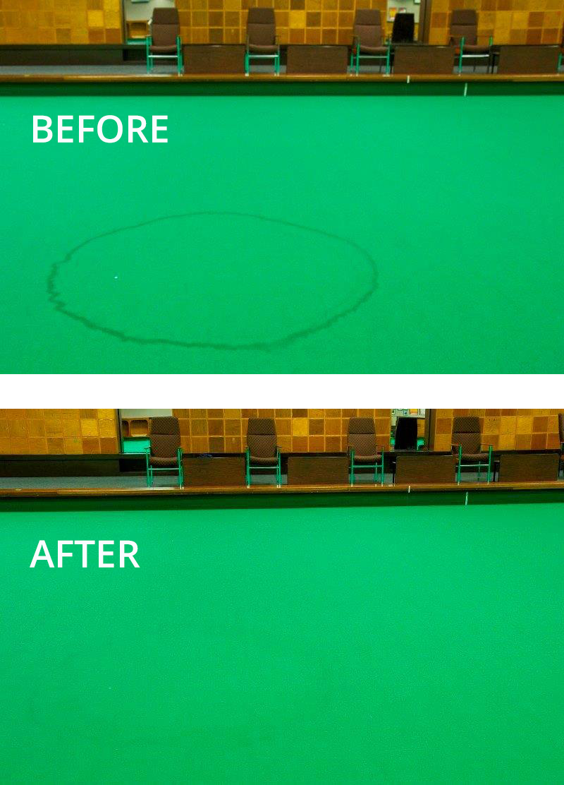 Cleaning a indoor bowls green carpet